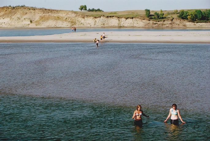 Sandbar beaches on the South Saskatchewan River near Saskatoon
