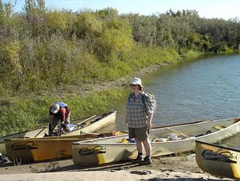 Christine on a fall trip on the South Saskatchewan River