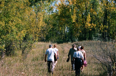 Hiking during a fall canoe trip on the South Saskatchewan River