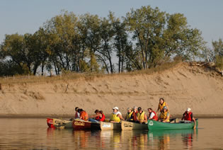 Paddlers on the South Saskatchewan River