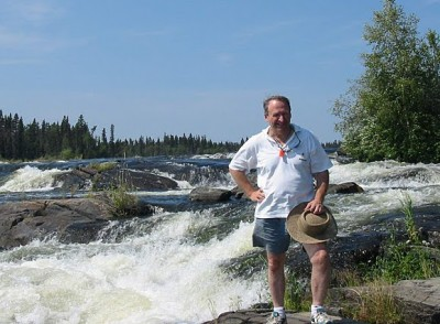 Tom Rogers at Robertson Falls on Otter Lake, Churchill River
