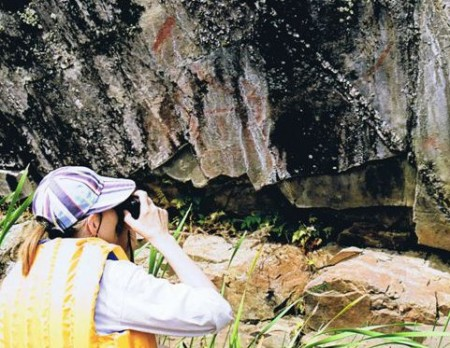 Photographing the rock paintings