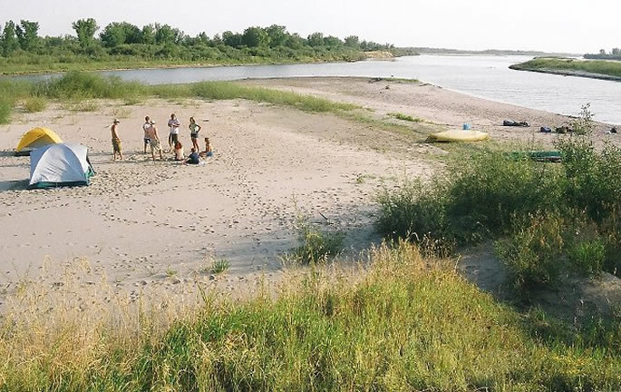 Camping on a South Saskatchewan River beach