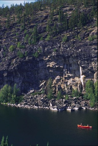 erial view of massive rock art cliffs in northern Saskatchewan