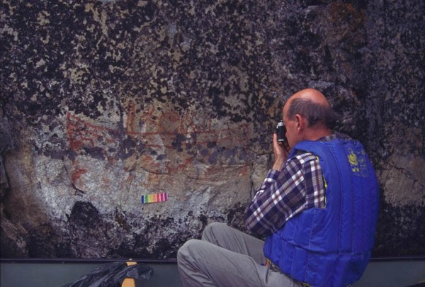 Tim Jones doing color analysis on rock paintings