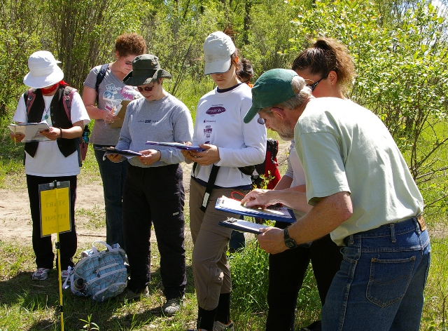 Orienteering students on the CanoeSki map and compass course
