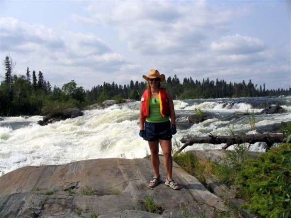 Paula at Robertson Falls, Churchill River